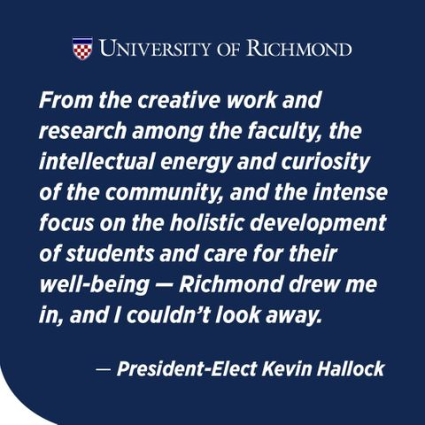 Swipe up on our story to learn more about #URichmond's 11th President, Kevin F. Hallock.