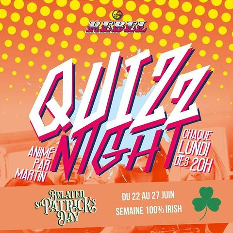 IT'S QUIZ NIGHT TIME 🔥 Pour commencer la #semaineIrlandaise en beauté on vous attend nombreux ce soir à 20H pour une #QuizNight animée par Martin 🥳  ARE YOU READY ??!?! Because I am 🍀 . . . . #OsullivansChatelet #RebelBar #Chatelet #quizNight #Letshavefun