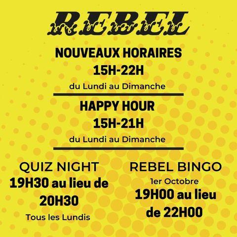 ⚠️ ANNONCE ⚠️ Le O'Sullivans Rebel Bar change d'horaires ! Dès aujourd'hui, ton #IrishPubChatelet ouvre de 15H00 à 22H00 tous les jours, du lundi au dimanche ! 🤘 Pour l'HAPPY HOUR, elle a lieu de 15H00 à 21H00 👀 Et pour le QUIZ NIGHT, tous les lundis, il commence à 19H30 dès ce soir !