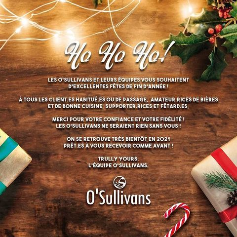 Hey les potes !! Joyeux Noël à vous ! 🎄  Toute l'équipe du O'Sullivans Rebel Bar vous souhaite d'excellentes fêtes de fin d'année !! 🥳  On sait que cette année n'a pas été facile pour tous et qu'elle était un peu bizarre, mais merci quand même pour tous les moments partagés ensembles ! On espère pouvoir réouvrir bientôt, en attendant, vous pouvez toujours venir nous voir pour notre vente à emporter de Cidre Chaud et Vin Chaud 🎅  On espère que votre réveillon du 24 et votre Noël se passeront bien ! Que vous soyez seul, en famille ou entre amis, peut-importe où vous êtes, l'important, c'est de profiter de ce moment !  Merry Christmas, God Jul, Feliz Navidad, Buon Natale ❤️