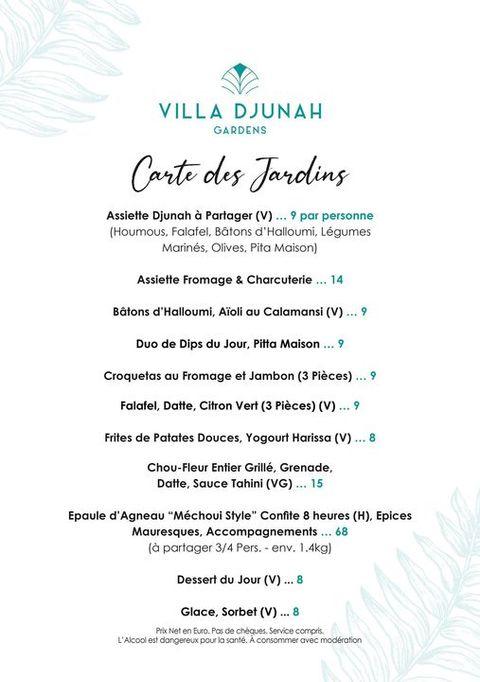 Djunah Gardens  Du Mardi au Dimanche 17h à 01h (Kémias 18h à 22h)