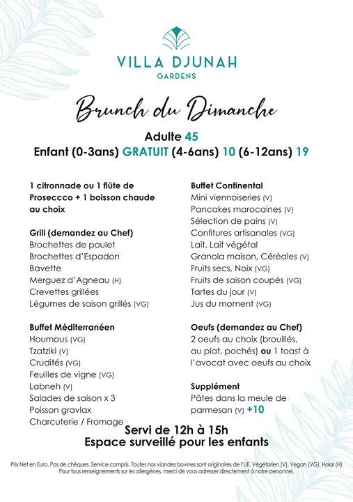 Djunah Brunch du Dimanche Tous les Dimanches 12h - 15h