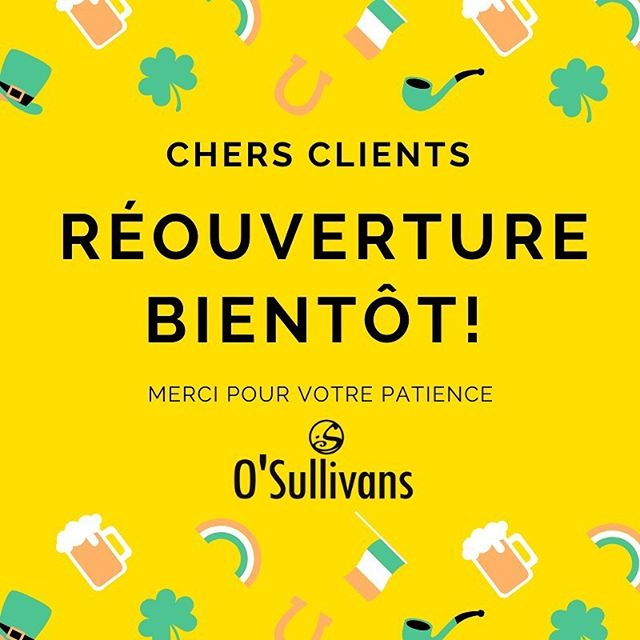 RÉOUVERTURE BIENTÔT! •  Merci à tous pour votre patience. Notre équipe a hâte de vous revoir encore quand on aura une date d'ouverture. Merci et à Bientôt. •  REOPENING COMING SOON! •  Thank you to our guests and your continuous support and patience. In the days before reopening, our team is making the necessary changes in relation to COVID-19. Hope to see you soon!