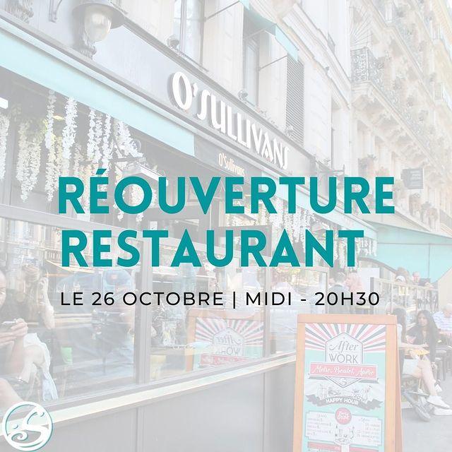 VOUS NOUS AVEZ MANQUÉ ! ⠀ - - ⠀ 🙌 Nous rouvrons le 26 octobre à partir de midi jusqu'à 20H30 ! ⠀ 🍽️ Restauration NON-STOP ! ⠀ 🍻 Happy Hour - 17H - 20H (Lundi - Vendredi) ⠀ ⠀ 😛 See you soon! ⠀ - - ⠀ #osullivans #osgb #grandsboulevards #paris #restaurant #pub #irishpub #food #apero #happyhour #reouverture #nousrestonsouverts #octobre