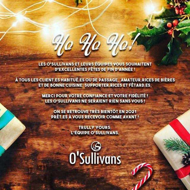 MERRY CHRISTMAS 🎁  JOYEUX NOËL 🎄  - -  #osgb #osullivans #paris #grandsboulevards #irishpub #irishbar #noel #christmas #2020 #christmaseve