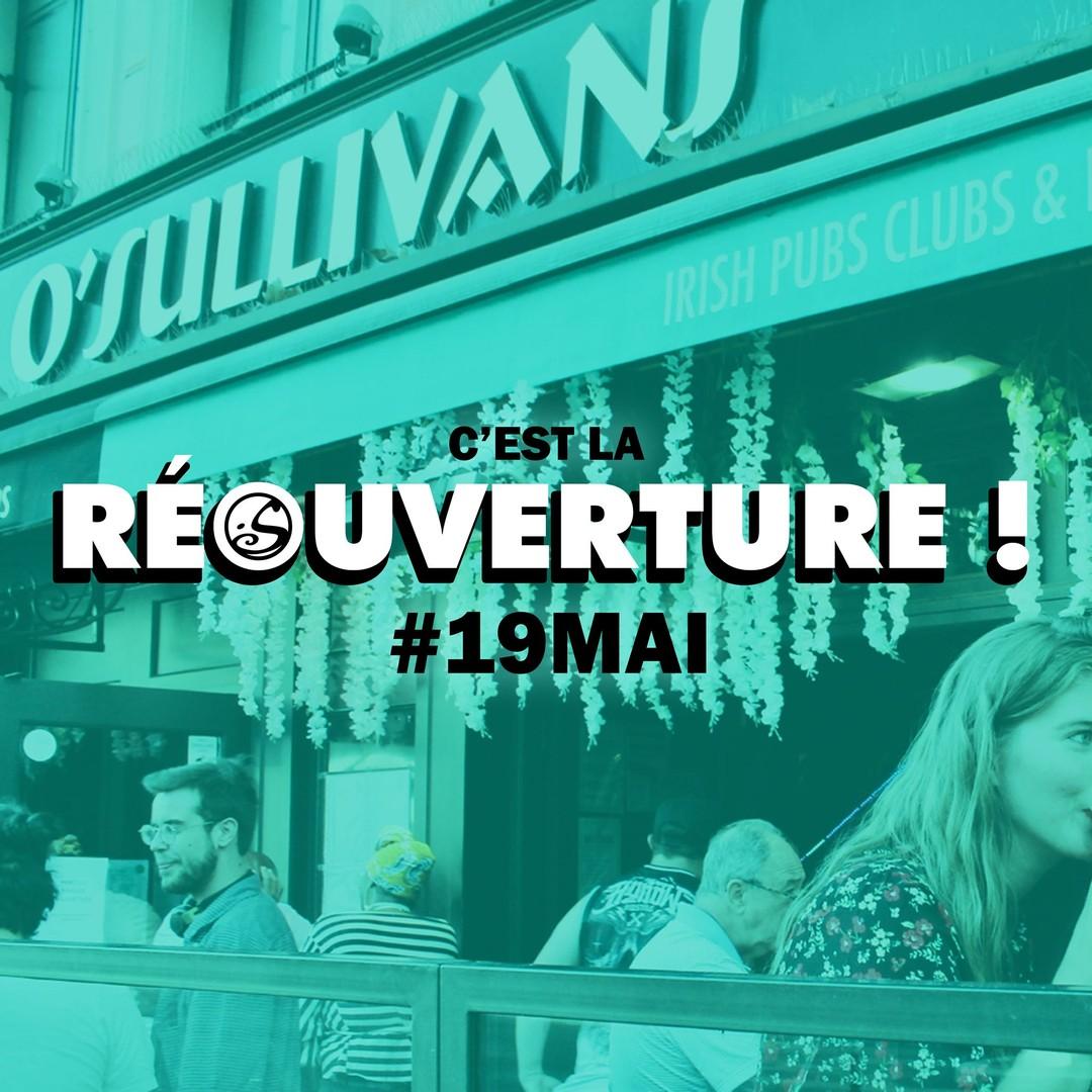 C'EST LA RÉOUVERTURE ! 🎉 - -  ⚠️ J-9  RDV sur la terrasse le #19mai ! 🍻 Plus de détails et d'annonces à venir ! 😉 #staytuned #seeyousoon #restezforts 💪 - -  #osgb #osullivans #pub #restaurant #irishbar #irishpub #paris #terrasse #deconfinement #mondaymotivation